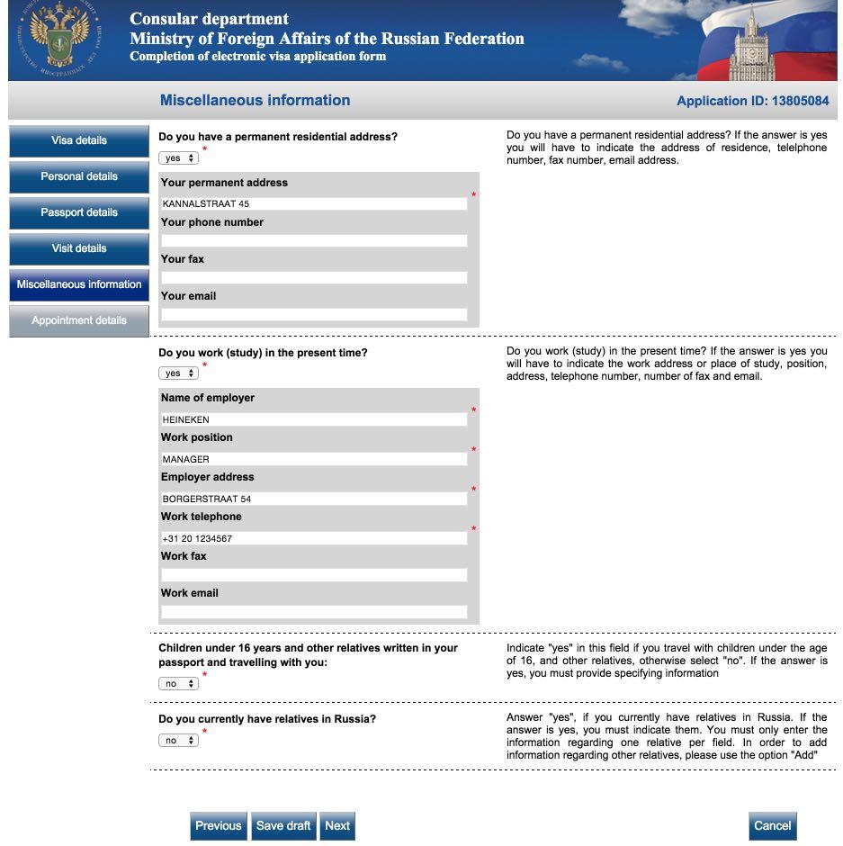 Visum aanvraagformulier Rusland 7
