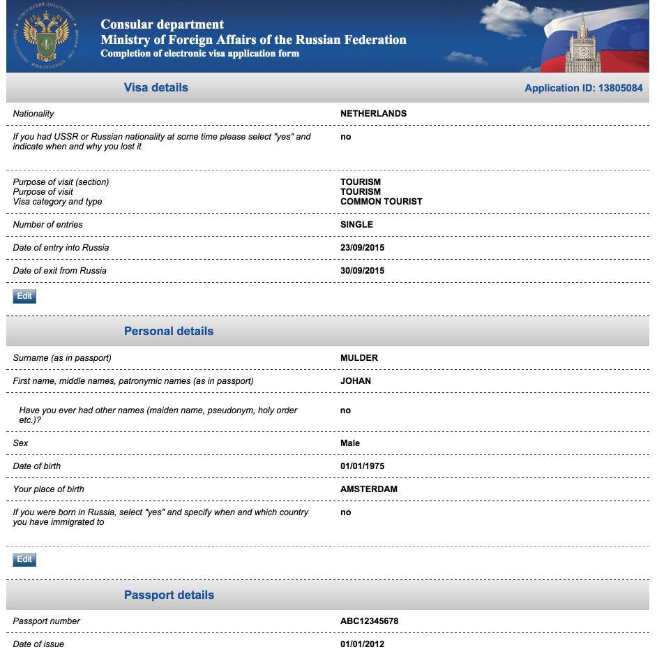 Visum aanvraagformulier Rusland 9
