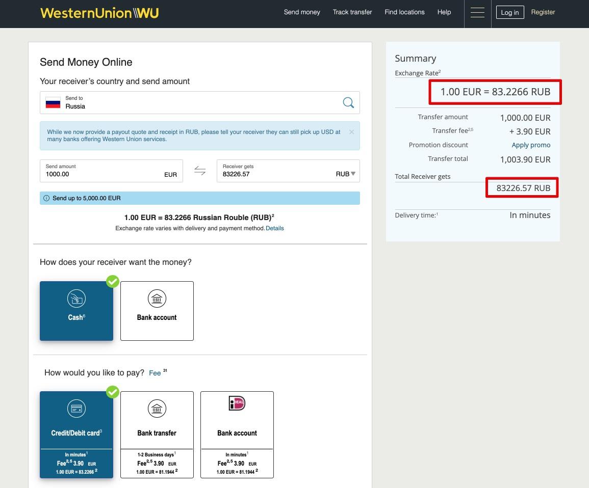 Maak geld over van Nederland naar Rusland met Western Union NL - Cash